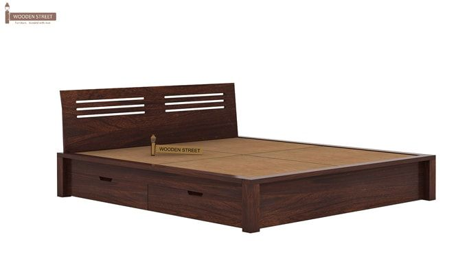 Lynet Bed With Side Storage (King Size, Walnut Finish)-6