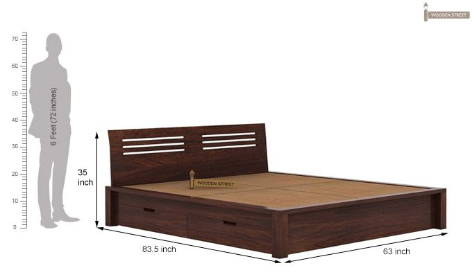 Lynet Bed With Side Storage (Queen Size, Walnut Finish)-7