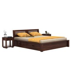 Lynet Bed With Side Storage (King Size, Walnut Finish)