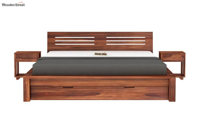 Lynet Bed With Storage (Queen Size, Honey Finish)-4