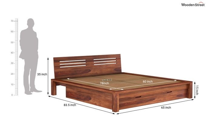 Lynet Bed With Storage (Queen Size, Honey Finish)-9