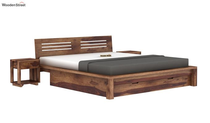 Lynet Bed With Storage (Queen Size, Teak Finish)-3