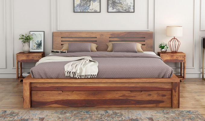 Lynet Bed With Storage (Queen Size, Teak Finish)-2
