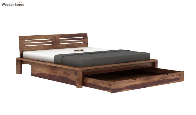 Lynet Bed With Storage (King Size, Teak Finish)-7