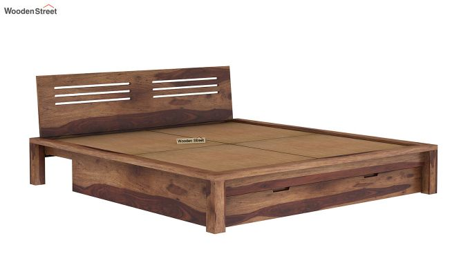 Lynet Bed With Storage (Queen Size, Teak Finish)-8