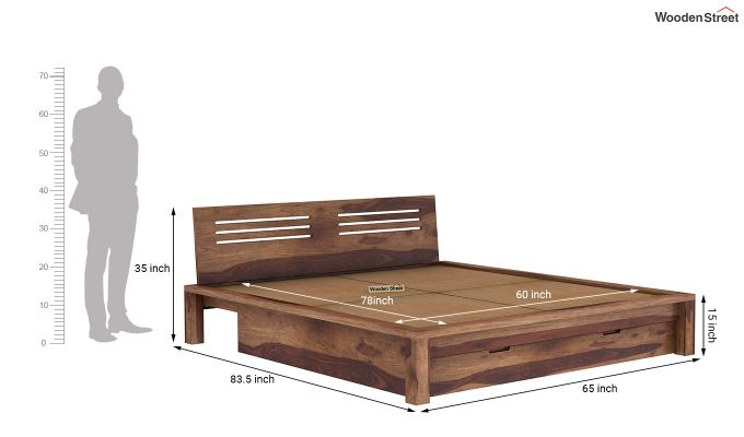 Lynet Bed With Storage (Queen Size, Teak Finish)-9