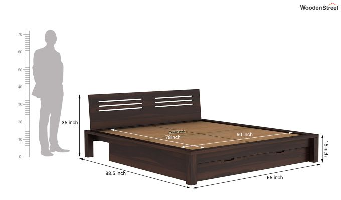 Lynet Bed With Storage (Queen Size, Walnut Finish)-9