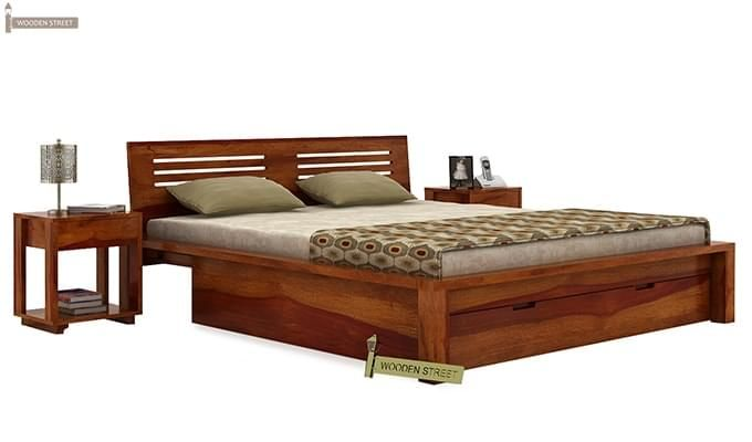 Lynet Bed With Storage (Queen Size, Honey Finish)-2