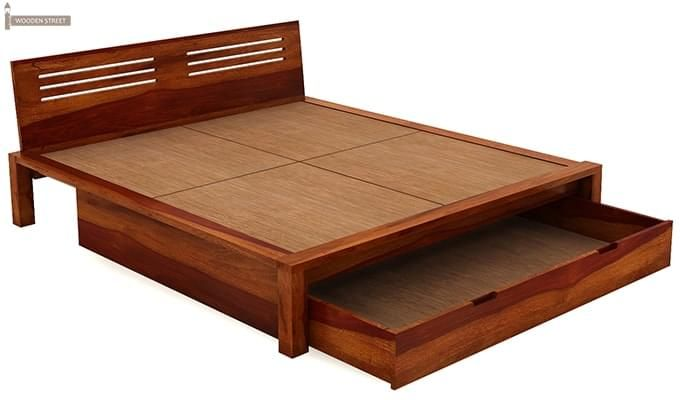 Lynet Bed With Storage (Queen Size, Honey Finish)-6