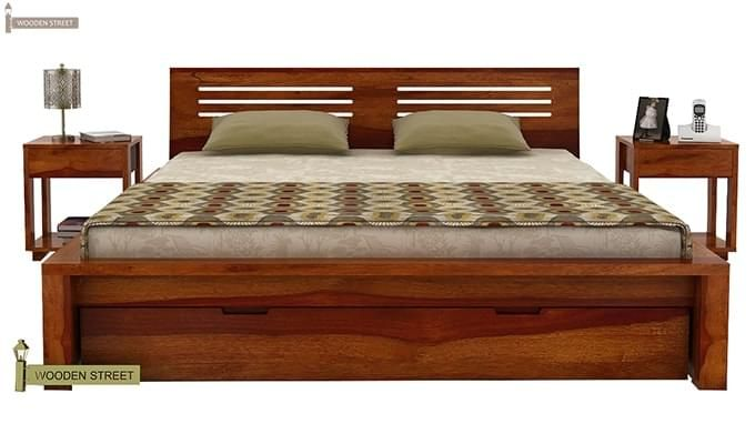 Lynet Bed With Storage (Queen Size, Honey Finish)-3