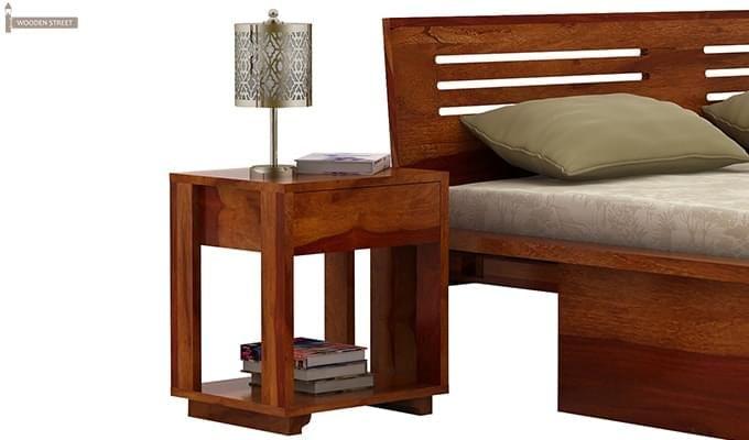 Lynet Bedside Table (Honey Finish)-1