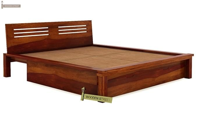 Lynet Bed With Storage (King Size, Honey Finish)-5