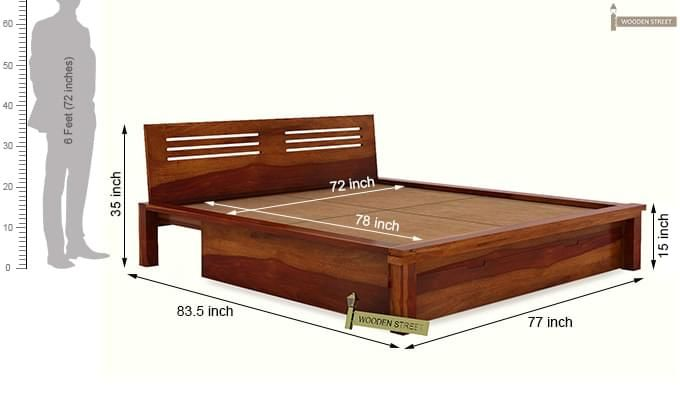 Lynet Bed With Storage (King Size, Honey Finish)-12
