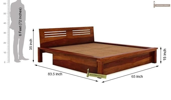 Lynet Bed With Storage (Queen Size, Honey Finish)-12