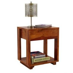 Lynet Bedside Table (Honey Finish)