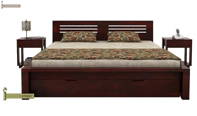 Lynet Bed With Storage (King Size, Mahogany Finish)-2