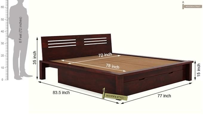 Lynet Bed With Storage (King Size, Mahogany Finish)-11