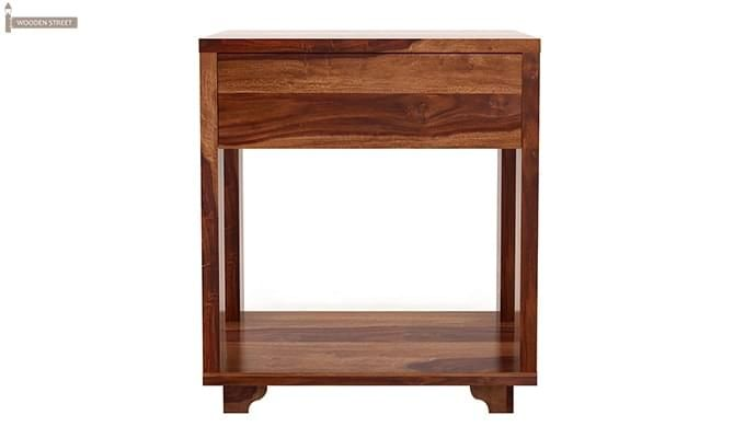 Lynet Bedside Table (Teak Finish)-2