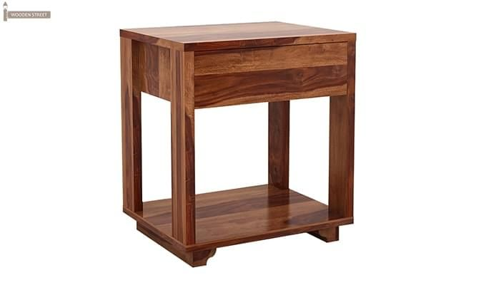 Lynet Bedside Table (Teak Finish)-3