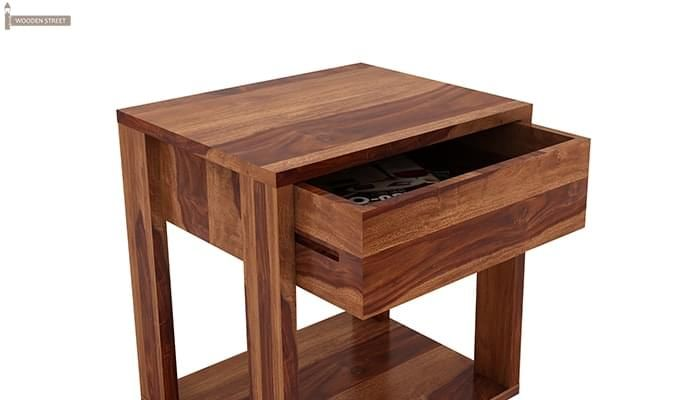 Lynet Bedside Table (Teak Finish)-4