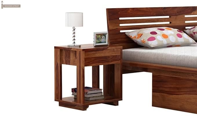 Lynet Bedside Table (Teak Finish)-1