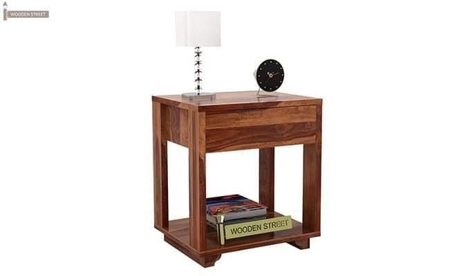 Lynet Bedside Table (Teak Finish)-5