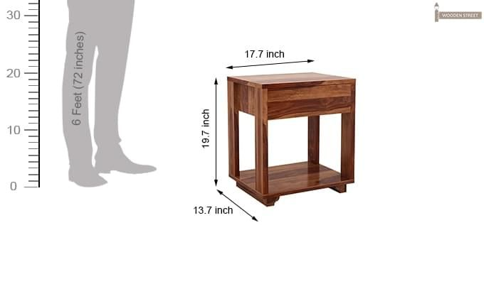 Lynet Bedside Table (Teak Finish)-6