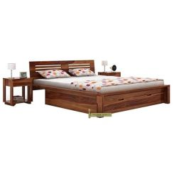 Lynet Bed With Storage (Queen Size, Teak Finish)