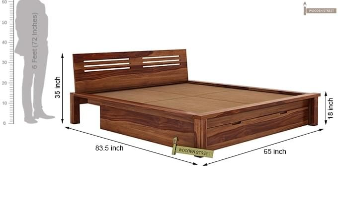 Lynet Bed With Storage (Queen Size, Teak Finish)-11