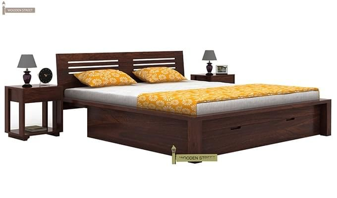 Lynet Bed With Storage (Queen Size, Walnut Finish)-1