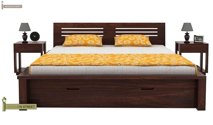 Lynet Bed With Storage (Queen Size, Walnut Finish)-4