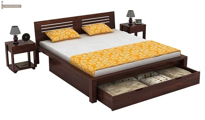 Lynet Bed With Storage (Queen Size, Walnut Finish)-3