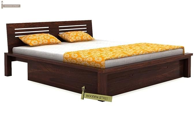 Lynet Bed With Storage (Queen Size, Walnut Finish)-2