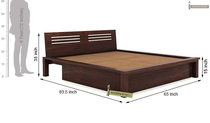 Lynet Bed With Storage (Queen Size, Walnut Finish)-11