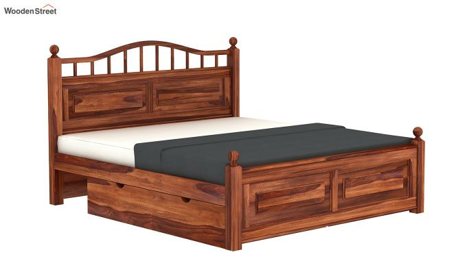 Madison Bed With Storage (King Size, Honey Finish)-4
