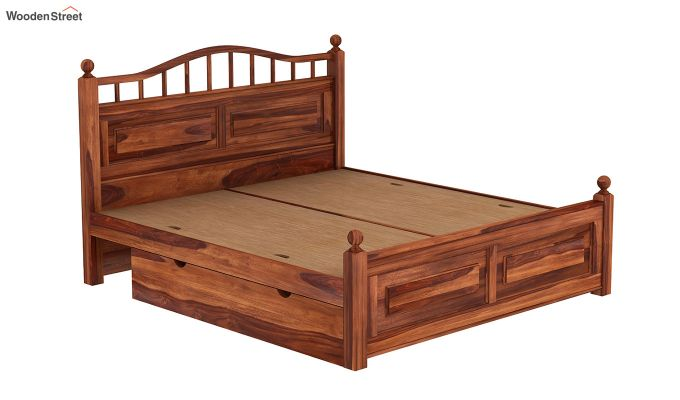 Madison Bed With Storage (King Size, Honey Finish)-6