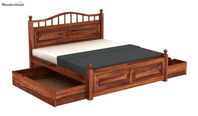 Madison Bed With Storage (King Size, Honey Finish)-7