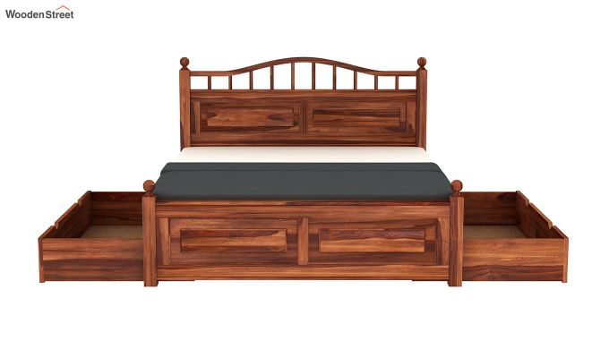 Madison Bed With Storage (King Size, Honey Finish)-8