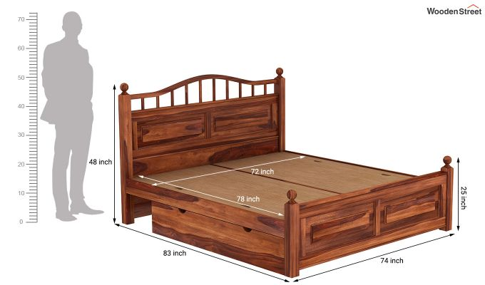 Madison Bed With Storage (King Size, Honey Finish)-9