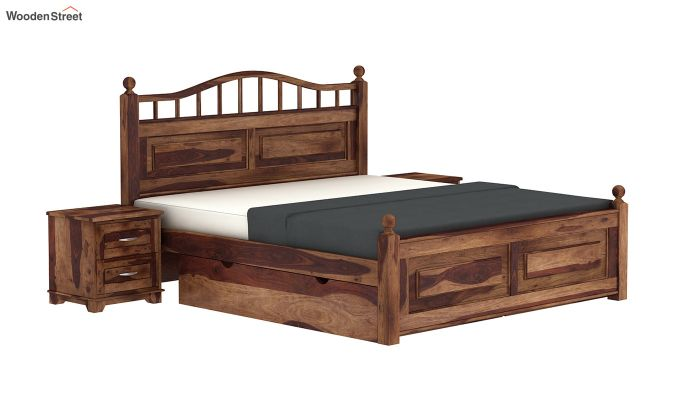 Madison Bed With Storage (Queen Size, Teak Finish)-2