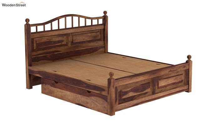 Madison Bed With Storage (Queen Size, Teak Finish)-6