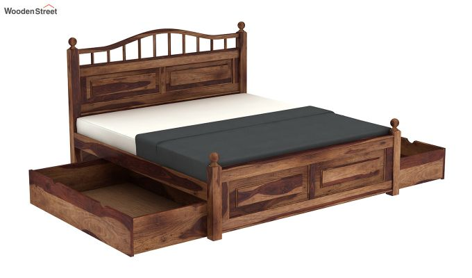 Madison Bed With Storage (Queen Size, Teak Finish)-7