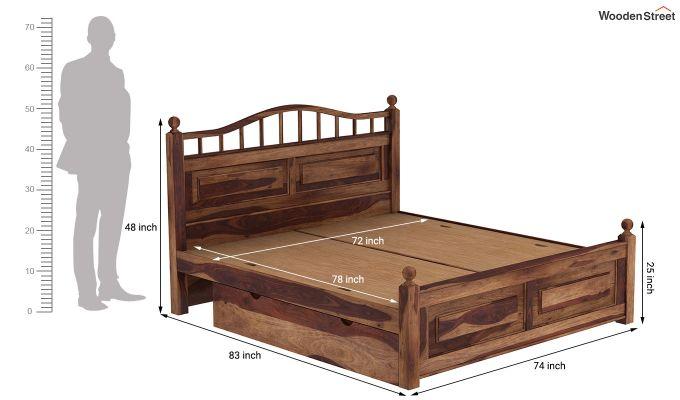 Madison Bed With Storage (King Size, Teak Finish)-9