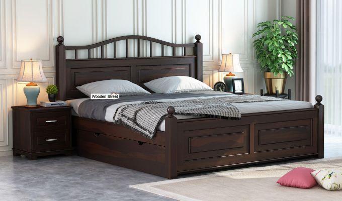 Madison Bed With Storage (King Size, Walnut Finish)-1