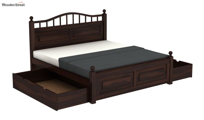 Madison Bed With Storage (Queen Size, Walnut Finish)-7