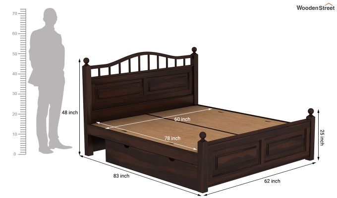Madison Bed With Storage (Queen Size, Walnut Finish)-9