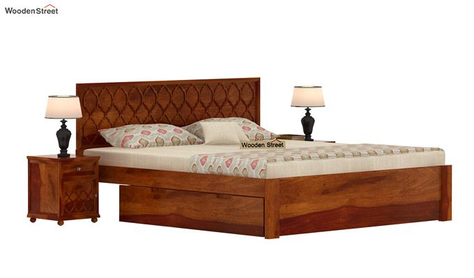 Montana Bed With Storage (King Size, Honey Finish)-2