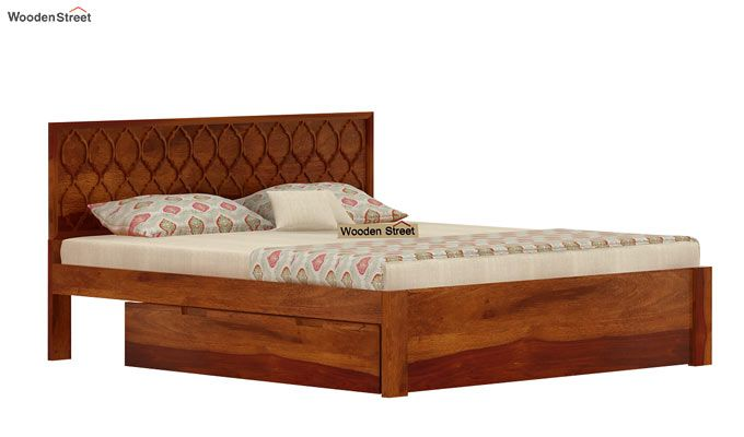 Montana Bed With Storage (King Size, Honey Finish)-4