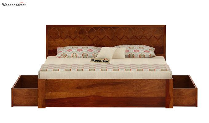 Montana Bed With Storage (King Size, Honey Finish)-7