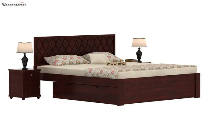 Montana Bed With Storage (Queen Size, Mahogany Finish)-1